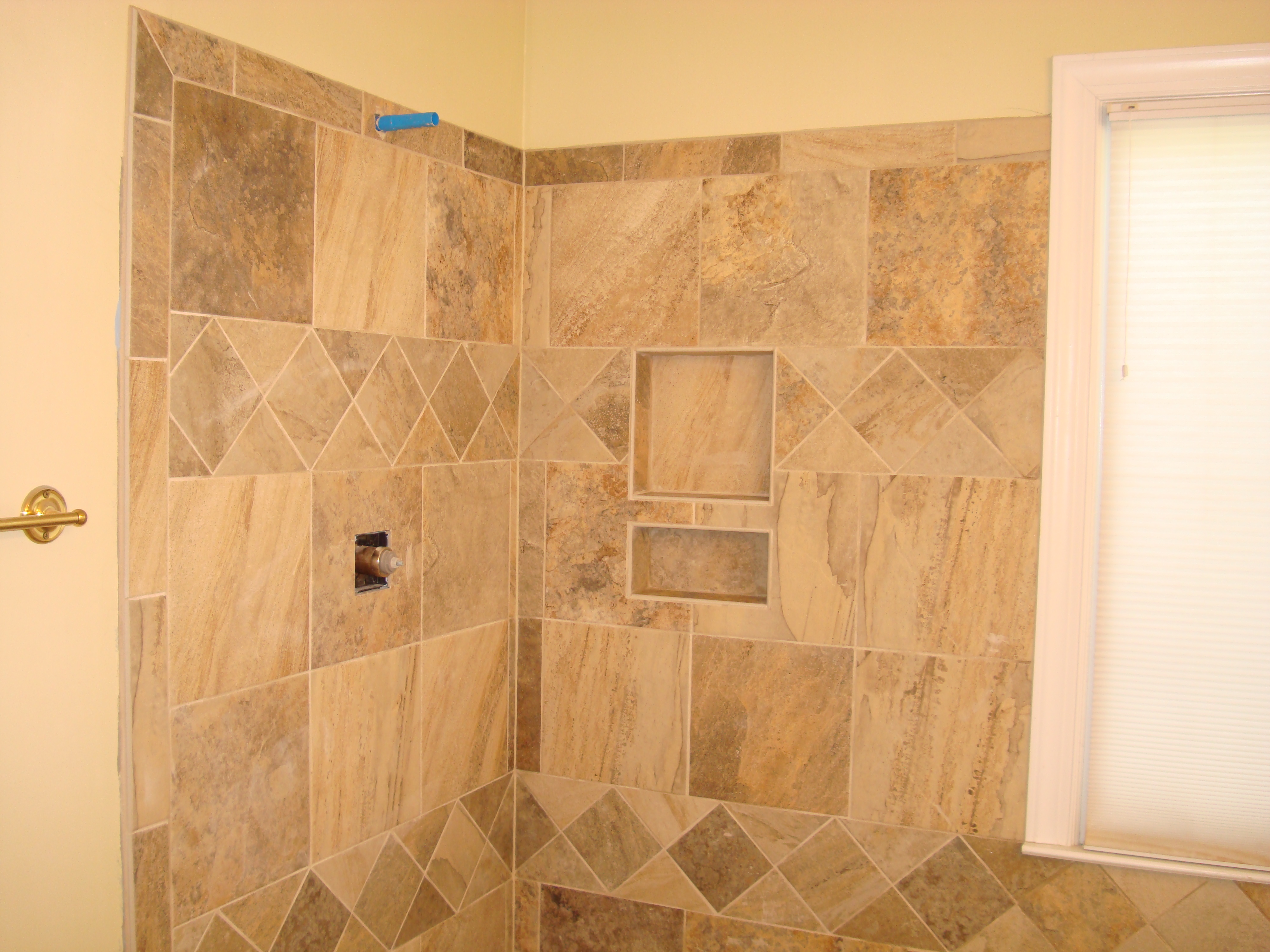 Ceramic tile on wall of bathroom